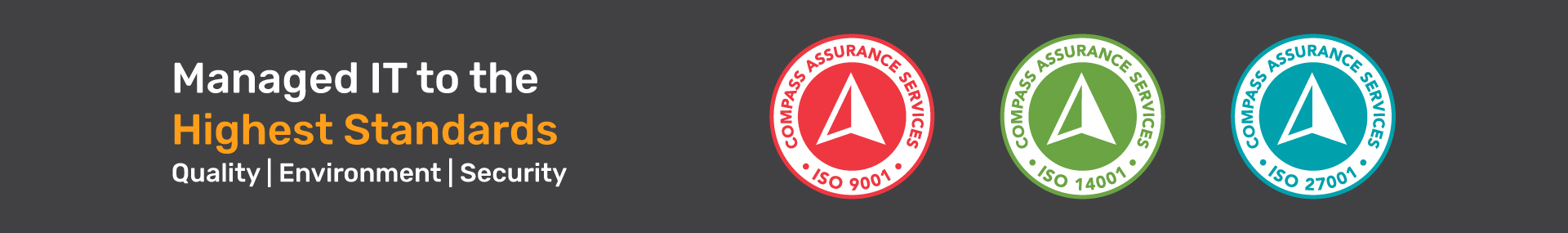 ISO 9001 Quality, 14001 Environment, 27001 Security